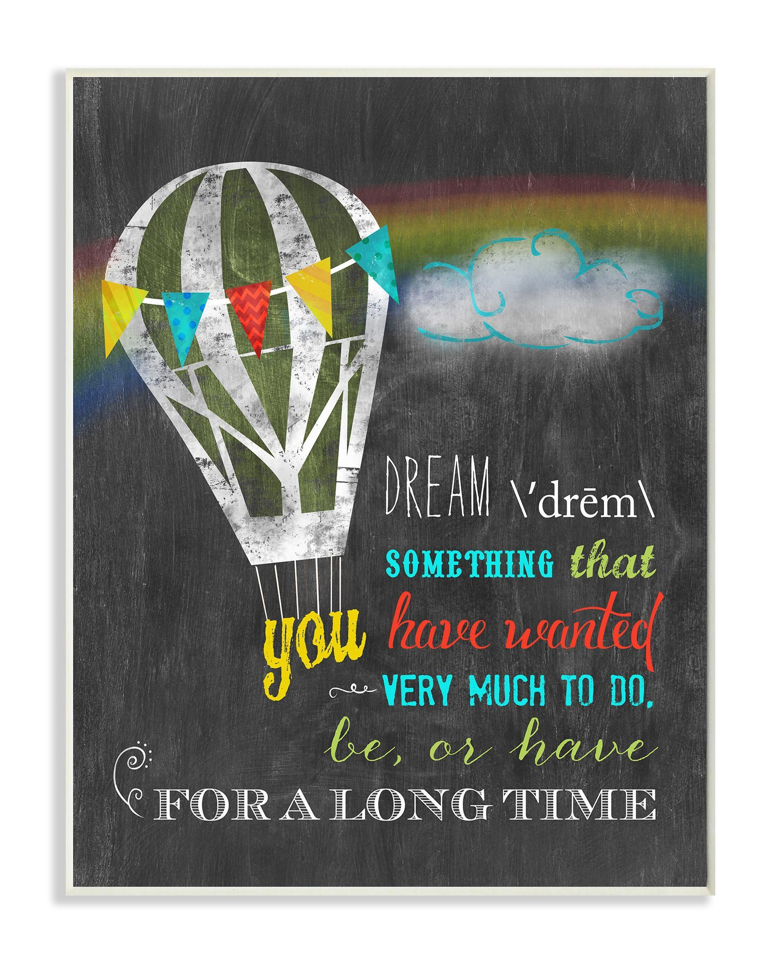 Dream Definition with Hot Air Balloon Typography Wall Plaque