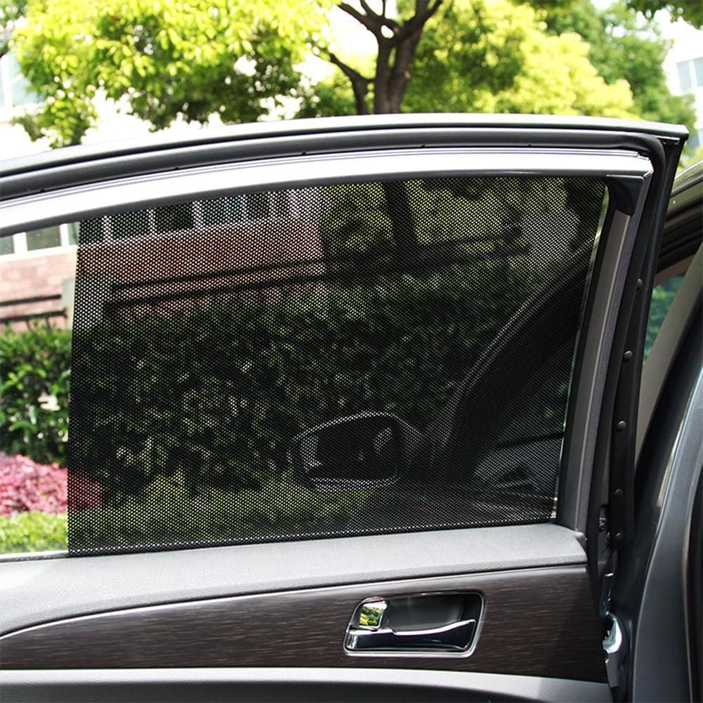 2Pcs Adjustable Auto Car Side Rear Window Sun Shade Black