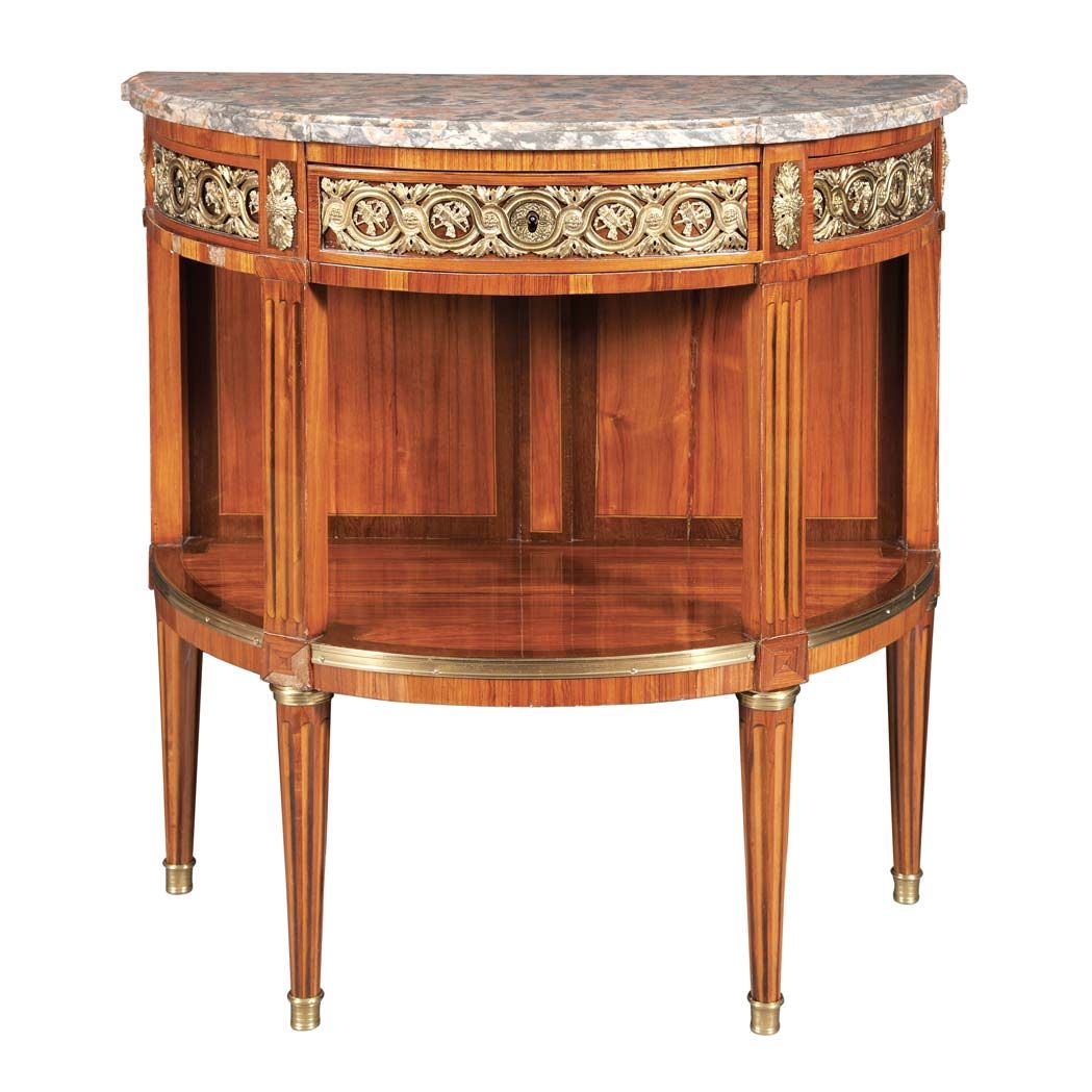 Louis Xvi Gilt Bronze Mounted Tulipwood And Parquetry Console Circa 1780 Stamped I Stockel Classic Furniture Furniture Styles Antique Furniture