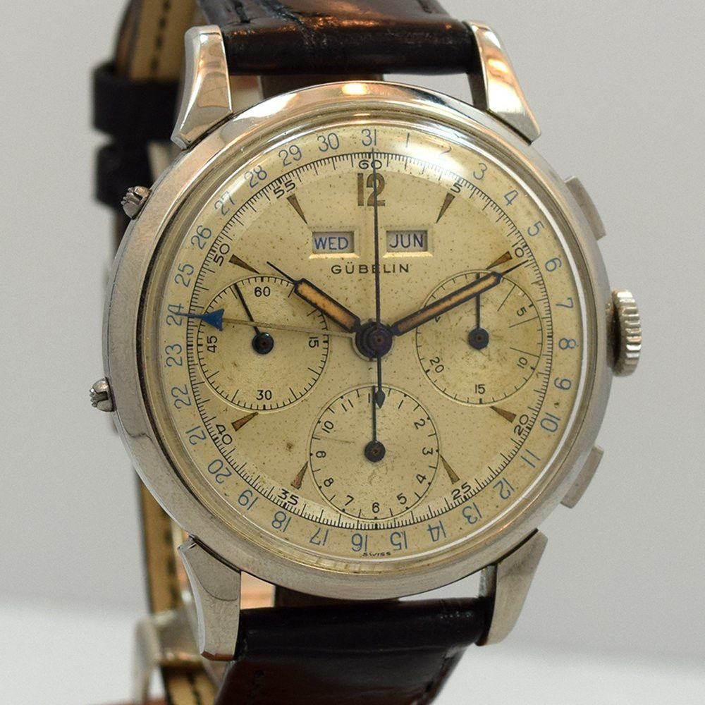 1950's Gubelin Triple Date 3 Register Chronograph