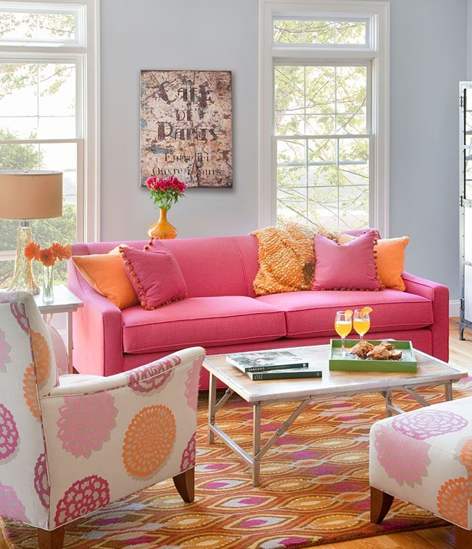 Pink And Orange Living Room Design Ideas & Pictures | Living rooms ...