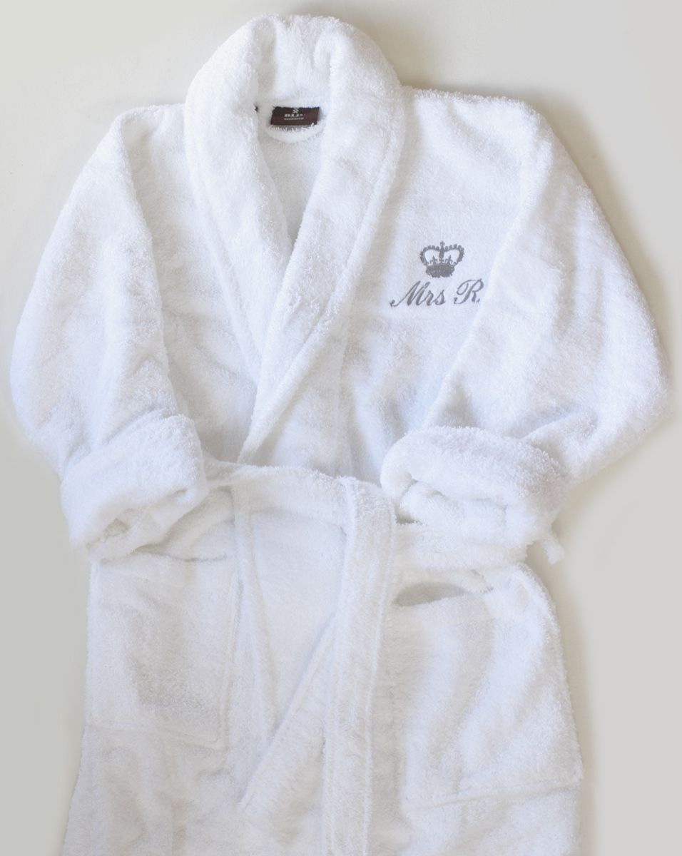 Chichester classic towelling bathrobe with crown motif  3f2ff9ef3