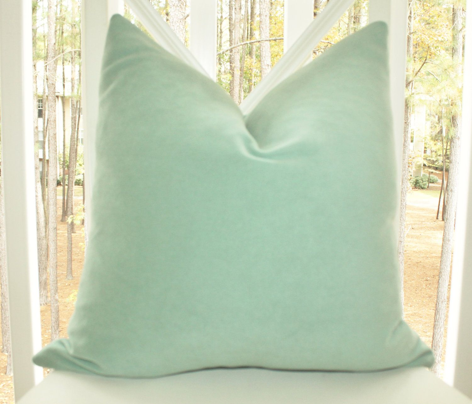 Decorative Mint Green Pillow - 15 x 15 Sea Foam Green Velvet ...