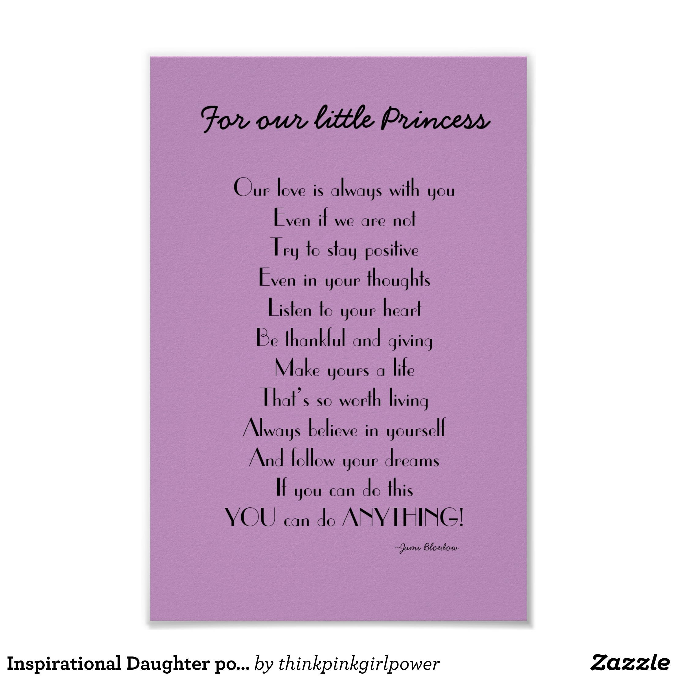 Inspirational Daughter poem from Parents Poster | Zazzle.com ...