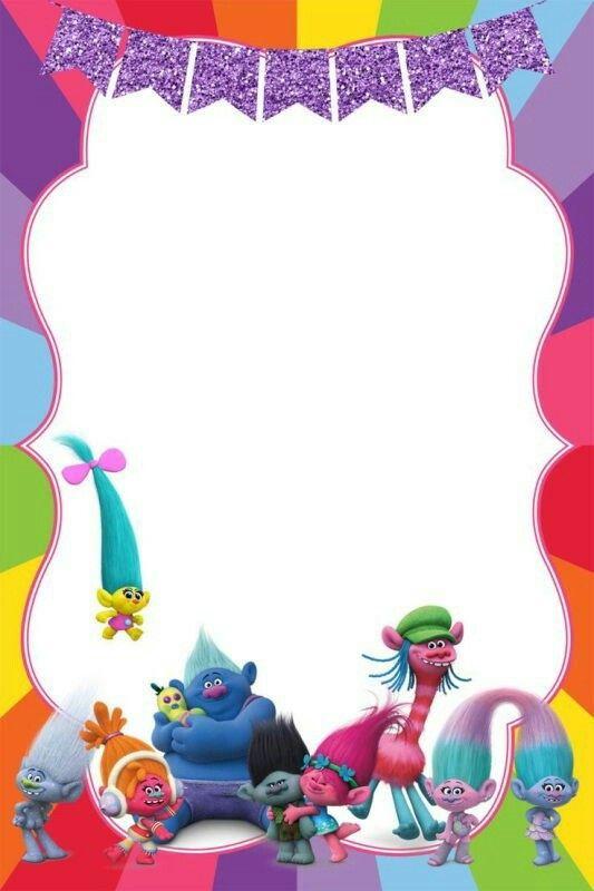 Tarjeta Invitaciones Trolls Birthday Invitation Templates Party Invitations Template 3rd