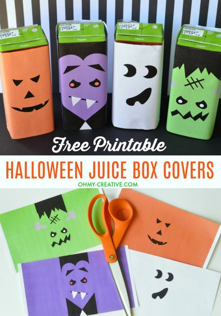 Cute Halloween Juice Box Covers Free Printable - Oh My Creative #halloweentreatsforschool