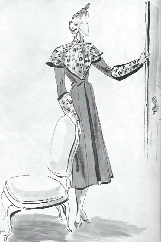 Red Velvet Coat Trimmed With Leopard Fashion Drawing By Leon Begnini For L Officiel September 1937 Leon