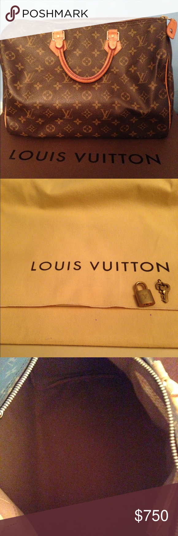 Speedy 35 Authentic Louis Vuitton bag. In great condition. No cracks on canvas or  interior stains. Still have original box and dust bag. Louis Vuitton Bags Satchels