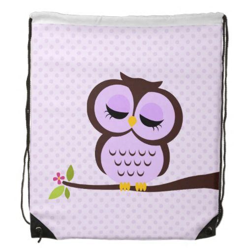 Cute Purple Owl Cinch Bag