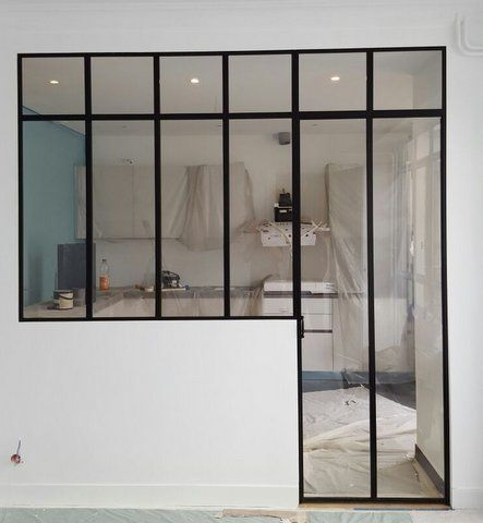 verri re avec traverse en partie haute cuisine pinterest verri re r novation et cloisons. Black Bedroom Furniture Sets. Home Design Ideas