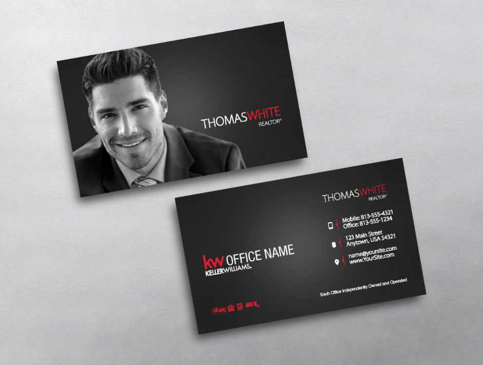This Minimal Modern Keller Williams Business Card Is Perfect To Showcase Your Prof Keller Williams Business Cards Photo Business Cards Realtor Business Cards