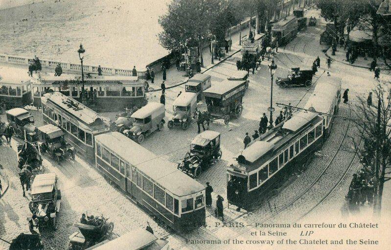 Embouteillage Place Du Chatelet Vers 1910 Paris D Autrefois