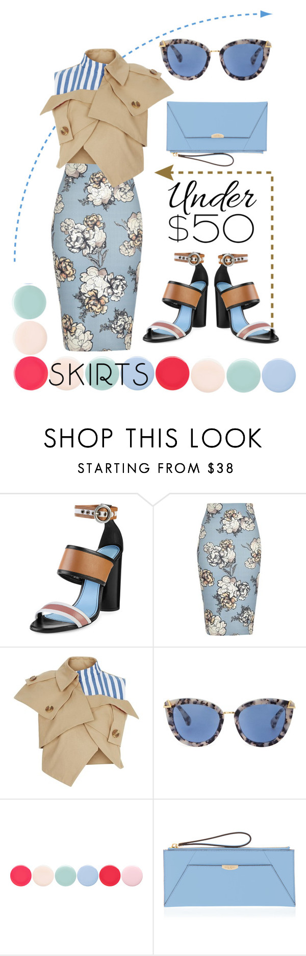 """""""Skirt the flowers"""" by jioulianova ❤ liked on Polyvore featuring Lanvin, River Island, A.W.A.K.E., Nails Inc., Henri Bendel, under50 and skirtunder50"""