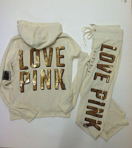 "VICTORIAS SECRET PINK LEOPARD/""LOVE PINK/"" SWEATSHIRT PANT SET OR SEPARATES NWT"