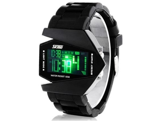 YW0934B Skmei 0817 5ATM Water Resistant Digital Airplane Shaped Sports Watch with Silicone Strap, LED Colorful Light - Black