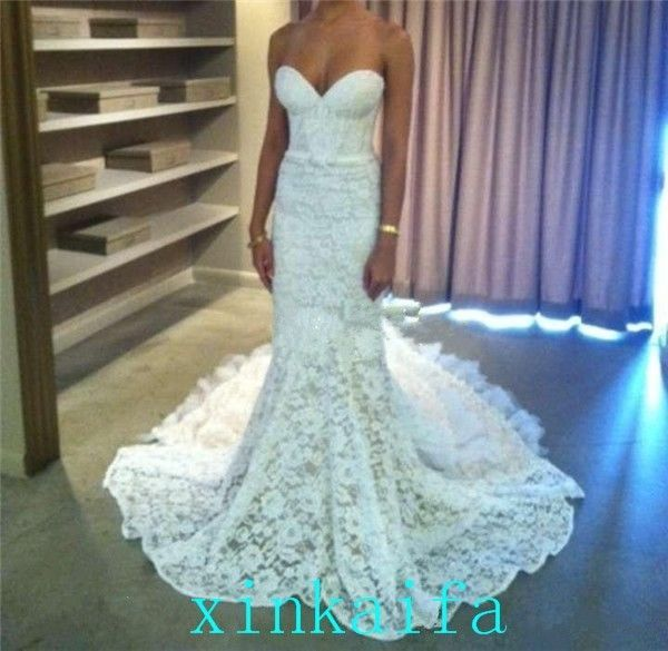 Gorgeous Sweetheart White Ivory Long Sweep Train Lace Wedding Dress Bridal Gown