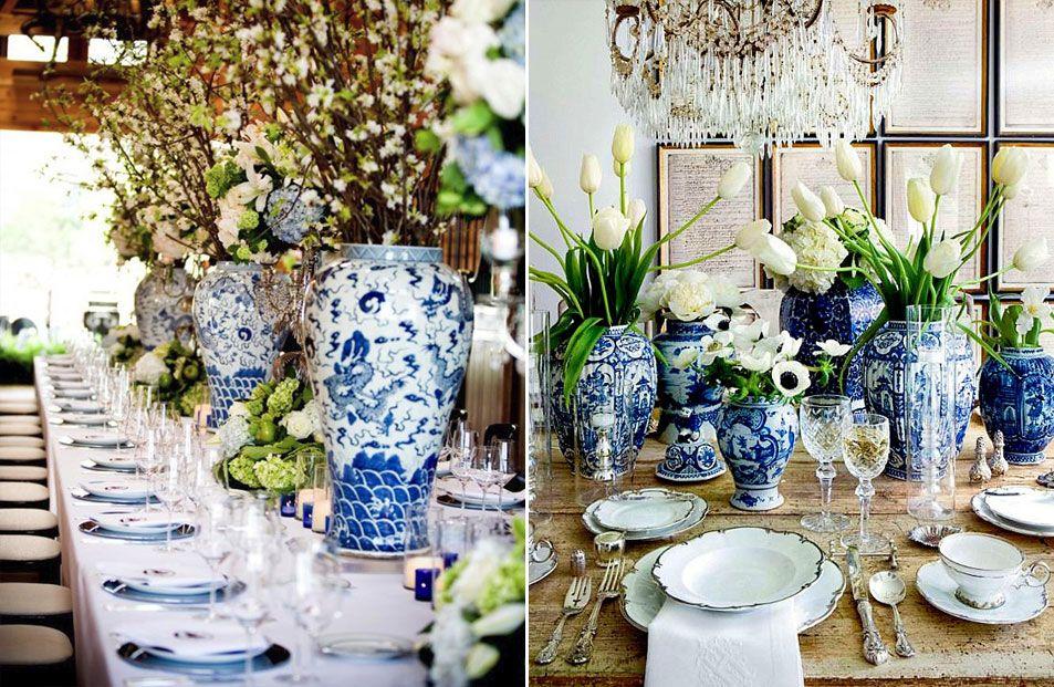 Mesa De Almoço Azul E Branco