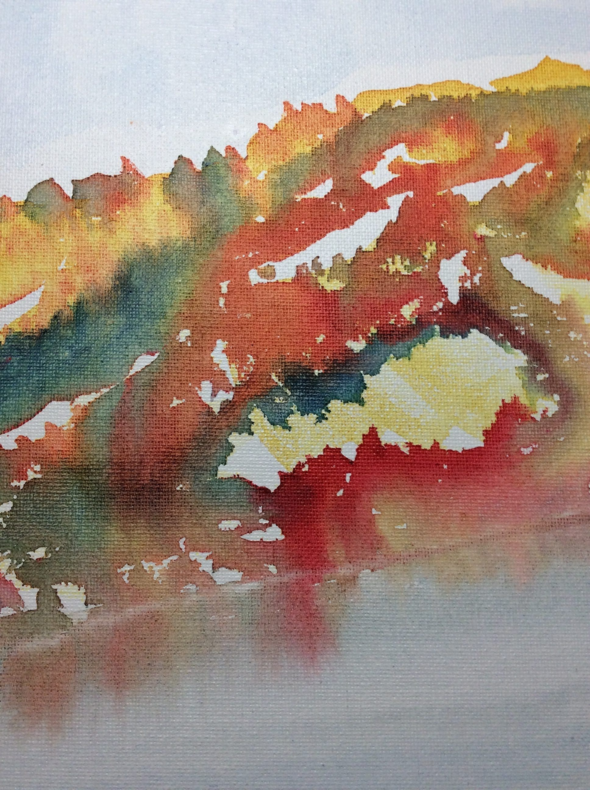 Warm Reflections Watercolor Painting On Canvas Board 12 X 12