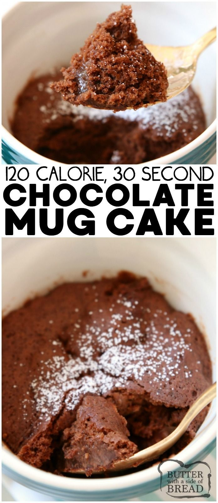 Calorie Chocolate Mug Cake Recipe made with common ingredients in 30 seconds! Soft, sweet & fudgy low-cal chocolate mug cake perfect for cravings.  from BUTTER WITH A SIDE OF BREAD