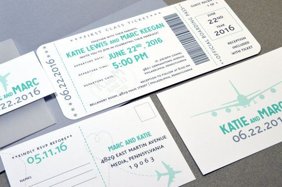 Boarding Pass Wedding Invitations Plane Ticket Invite Set Aqua and