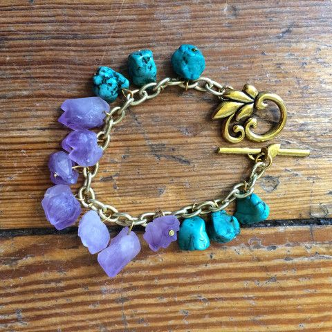 Natural Amethyst and Turquoise Bracelet