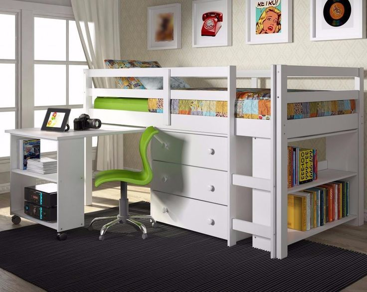Tiny Box Room Ikea Stuva Loft Bed Making The Most Of: Twin Loft Bed With Desk And Storage - White