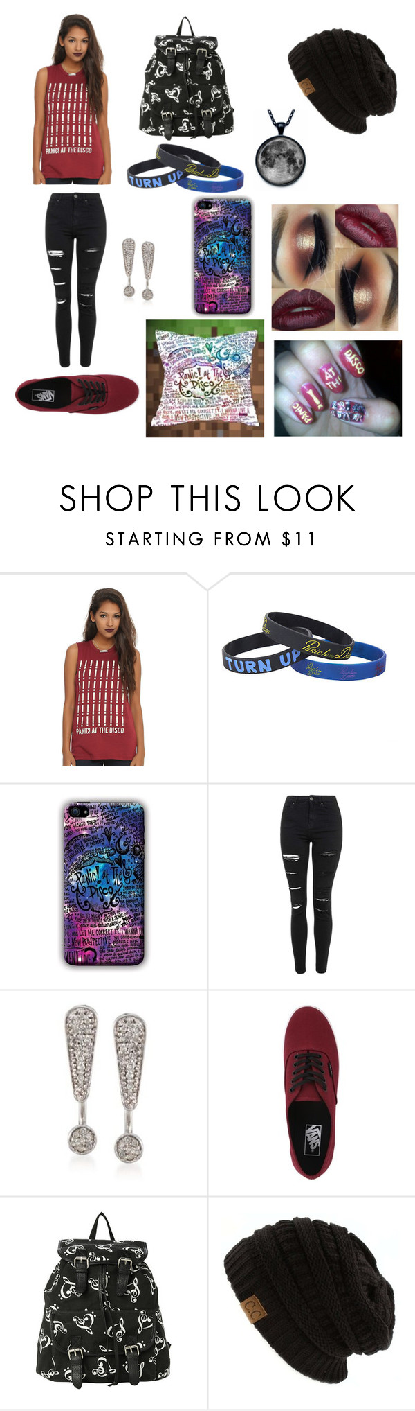 """Panic! At the disco"" by kat235 ❤ liked on Polyvore featuring Topshop, Ross-Simons and Vans"