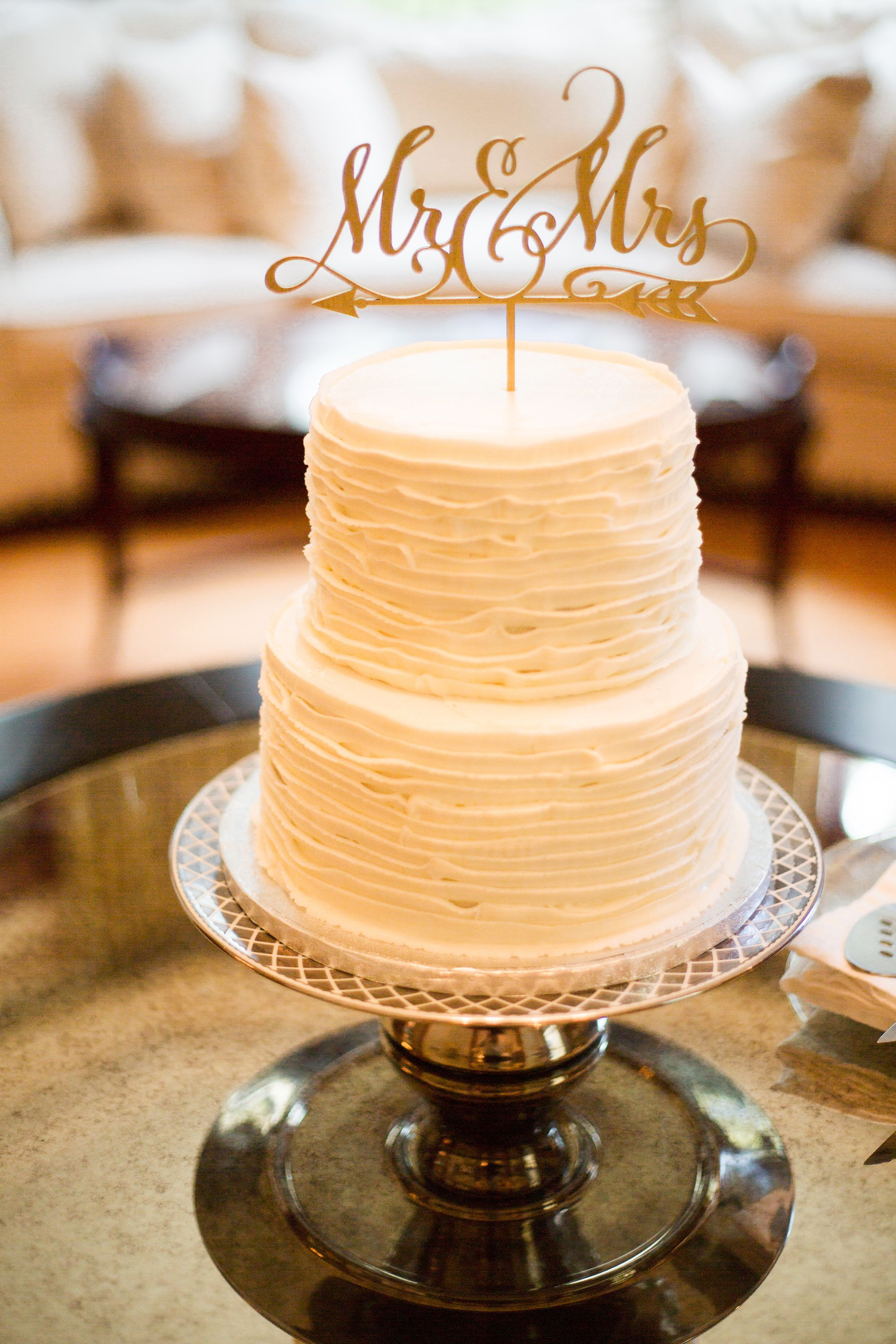 Small wedding cake for an intimate wedding by Rum Runners bakery. (c ...