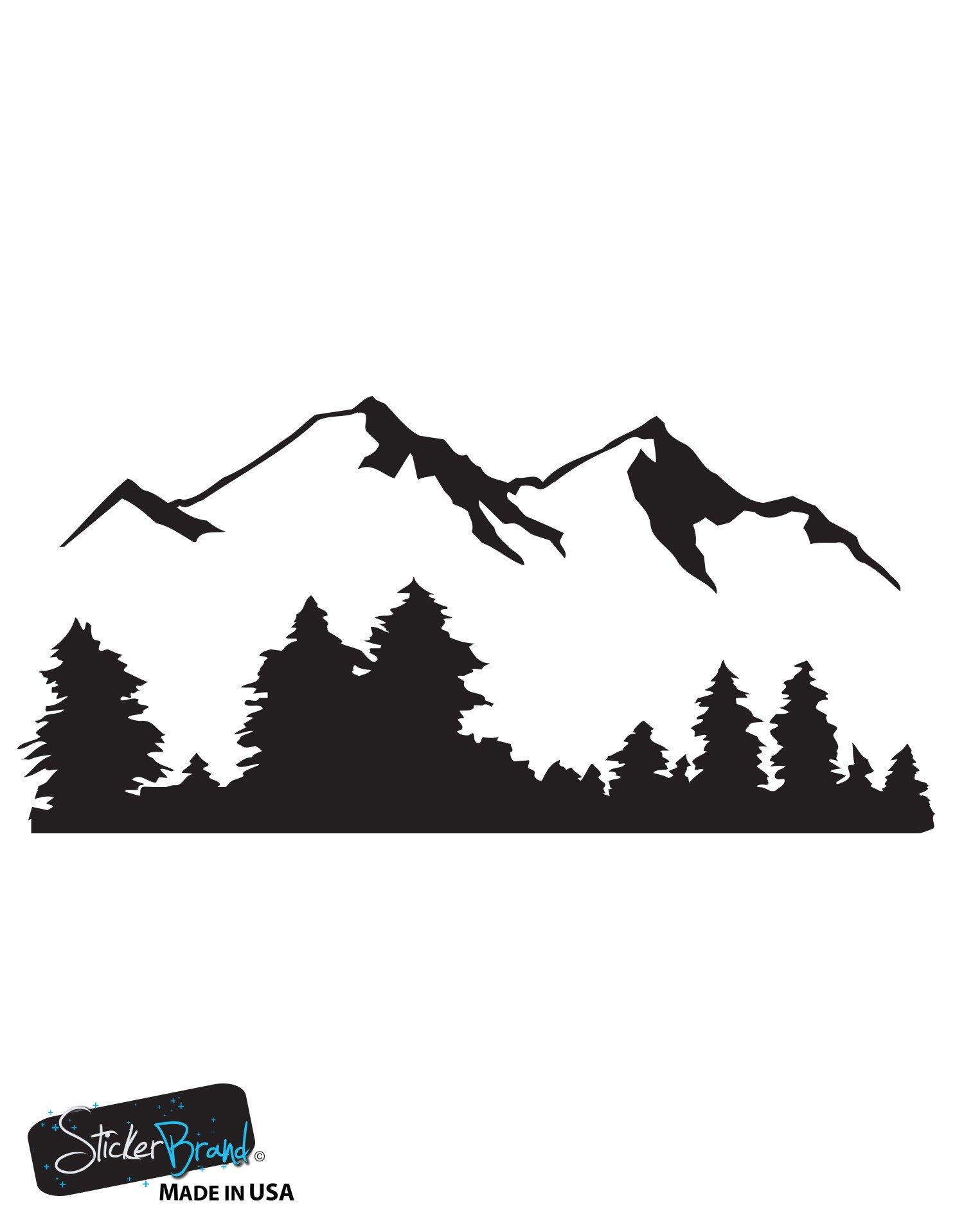 Vinyl wall decal sticker snow mountain view w trees 194