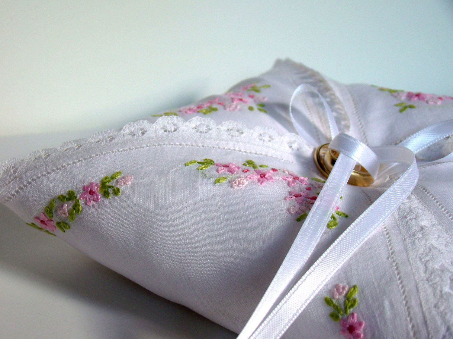 Wedding Ring Bearer Pillow, Rustic, Country, Vintage Ring Pillow, Vintage Handkerchief, Pink, Ringbearer, One of a Kind, Keepsake Pillow. $35,00, via Etsy.