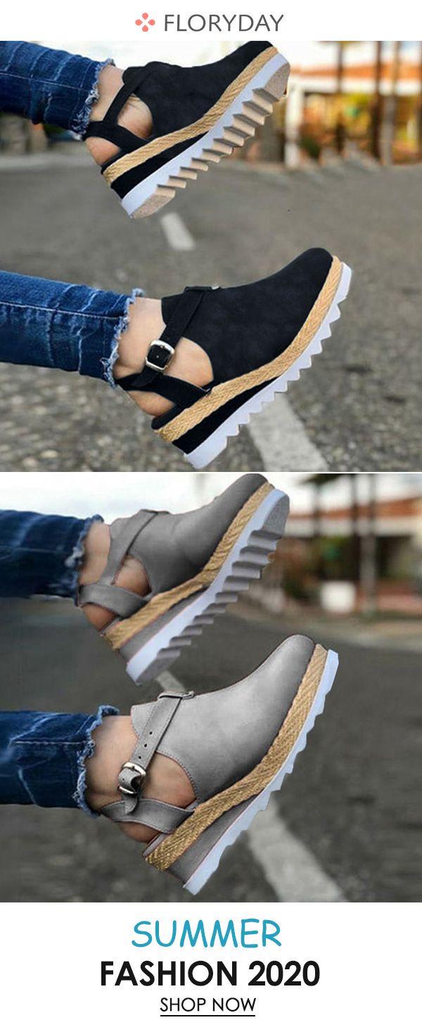 Women's round toe wedge heel shoes