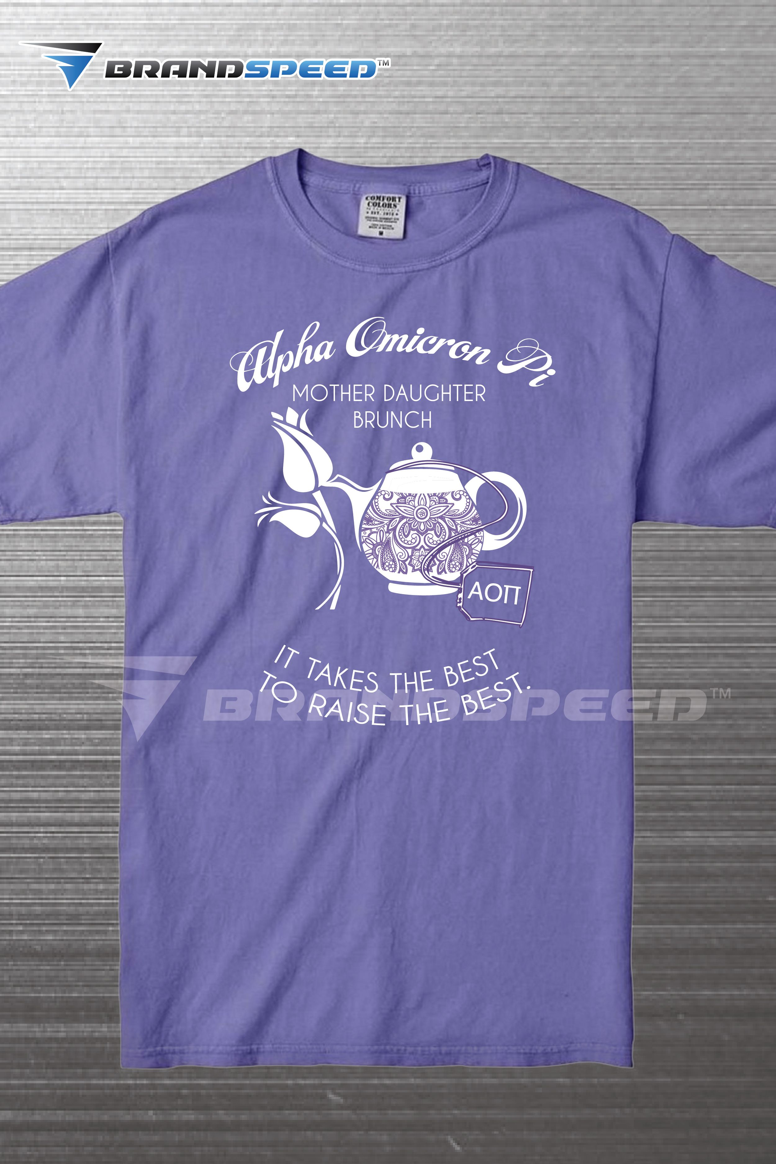 a6a7c91f0 This one color screen printed design was printed on Comfort Colors tee  shirts for a Sorority's tea party themed mother-daughter brunch.