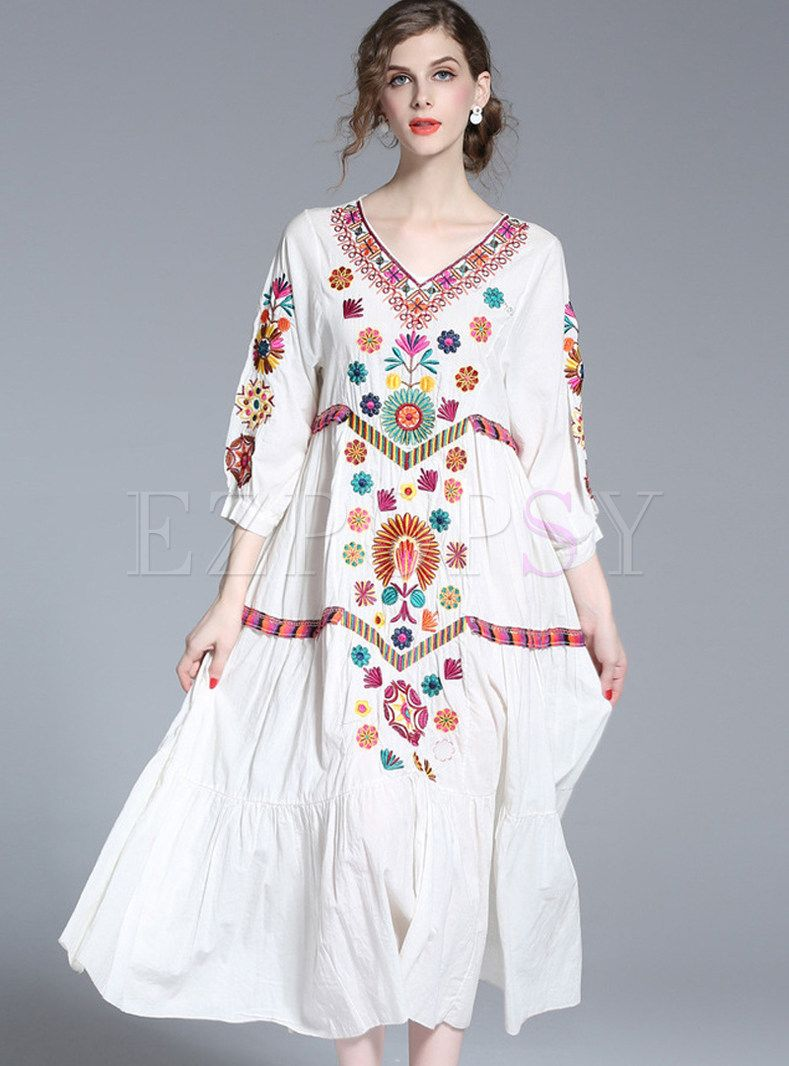 4c90d2236dd Shop for high quality Ethnic V-neck Loose Embroidered Maxi Dress online at cheap  prices and discover fashion at Ezpopsy.com