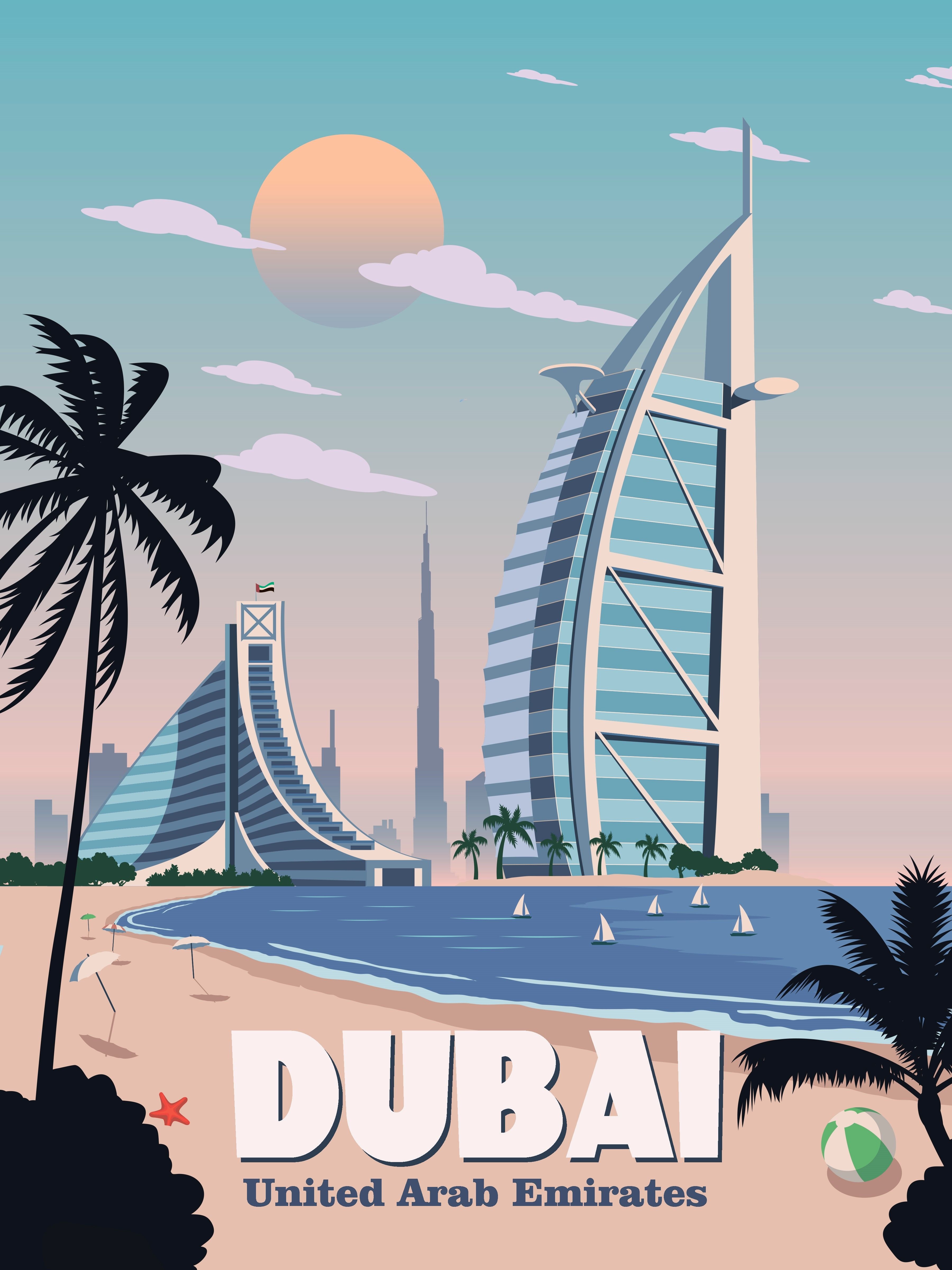 Dubai Travel Poster Vintage Retro Wall Art Print Uae Skyline Map Minimalism Poster Vintage Retro Travel Posters Retro Travel Poster
