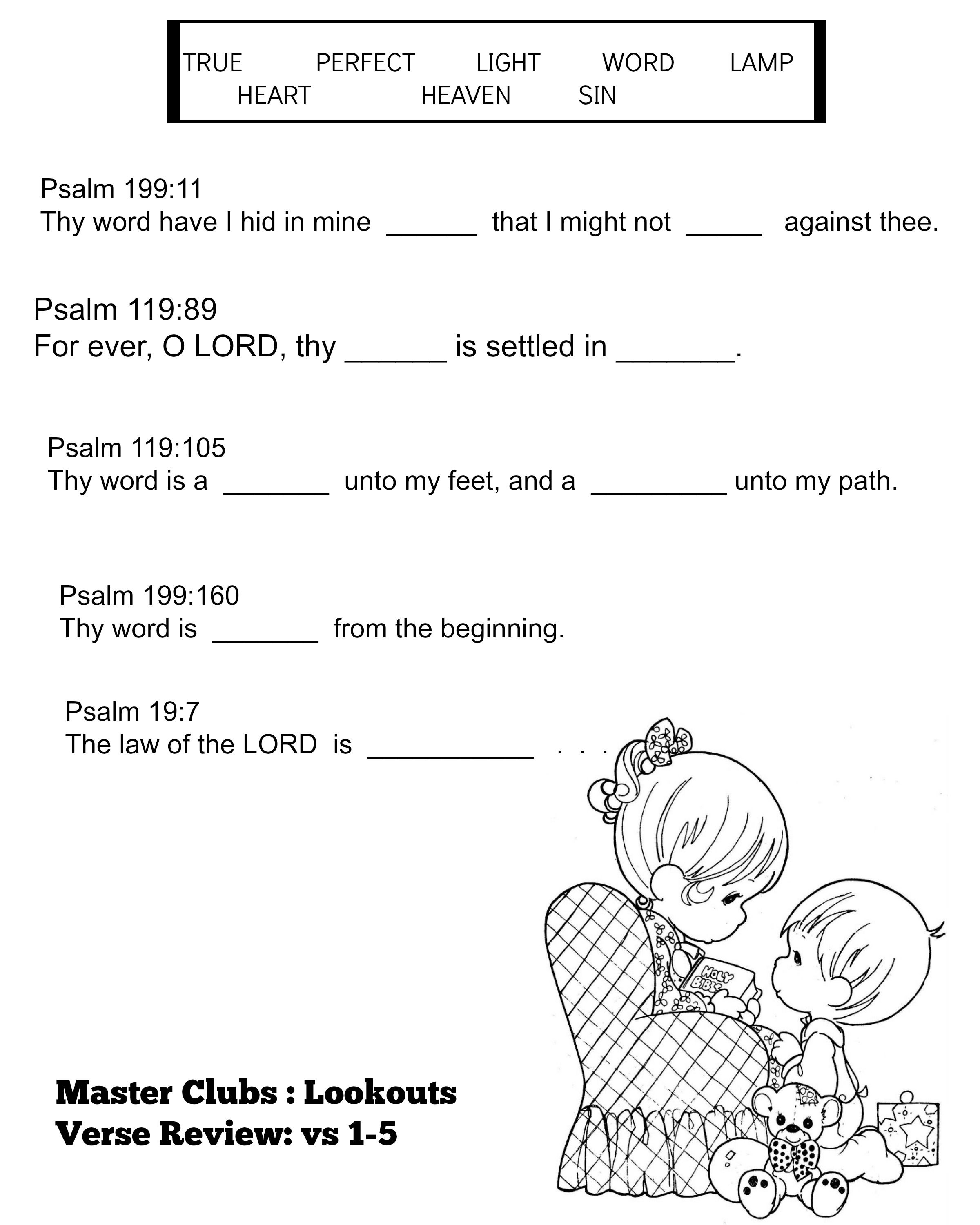 Coloring pages with bible verses - Verse Review Verses 1 5 Master Clubs Lookouts Bible Verse Coloring Page Precious Moments Designed