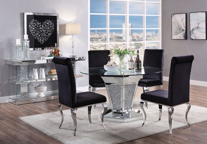 Acme 71285 62072 5 Pc Noralie Mirrored Faux Diamond Metal And 52 Round Glass Top Dining Table Set Round Dining Room Glass Top Dining Table Modern Dining Room