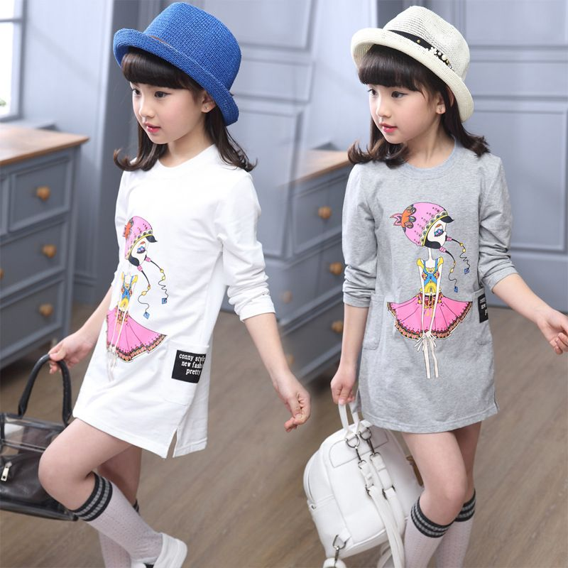 208e2639d7d1 Kids casual letter print dress girls dress baby girl clothes Fashion Long  Sleeve Ruffles cartoon Children clothing t-shirt Dress