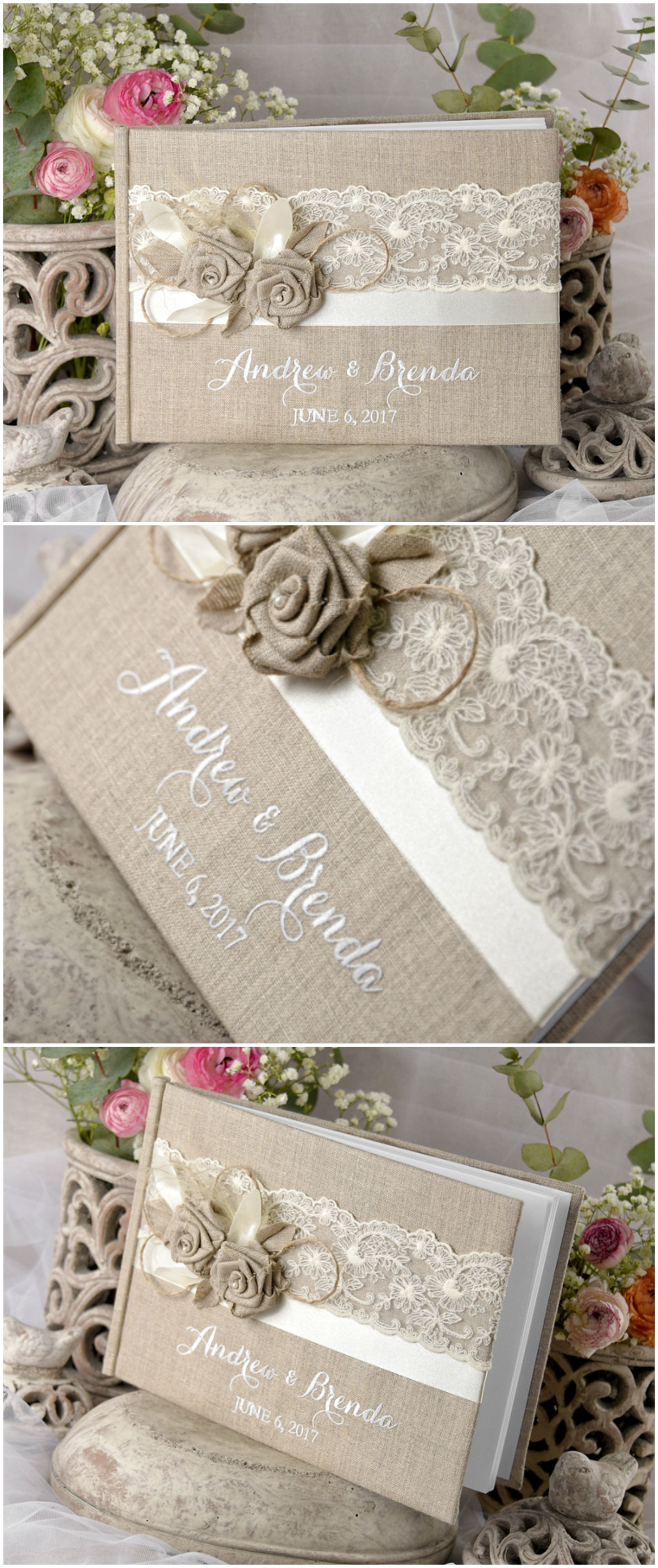 Shabby Chic wedding guest book with custom embroidery wedding