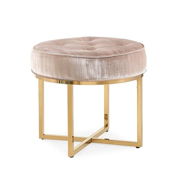 Stupendous Layla Grey Velvet Gold Stainless Steel Frame Round Tufted Caraccident5 Cool Chair Designs And Ideas Caraccident5Info