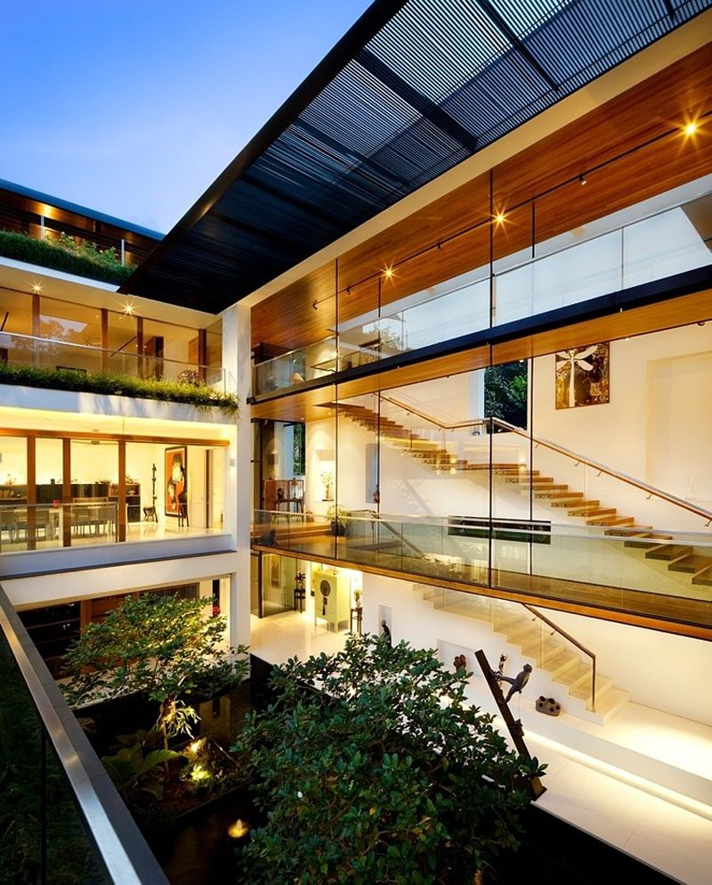 Dalvey Road House Is A Sensational Modern Tropical Bungalow Design By Guz  Architects, Which Integrates Nature Into The Residence Located In Singapore.