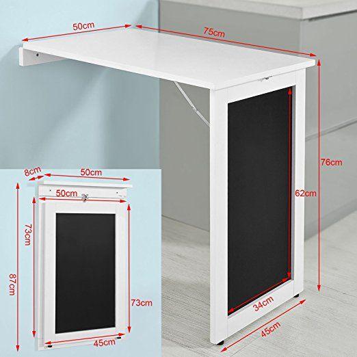 SoBuy®Mesa plegable de pared, escritorio para fijar en la ...