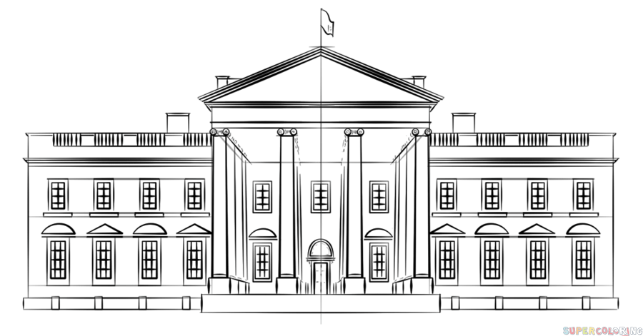 How To Draw The White House Step By Step Drawing Tutorials For Kids And Beginners White House Drawing House Drawing House Colouring Pages