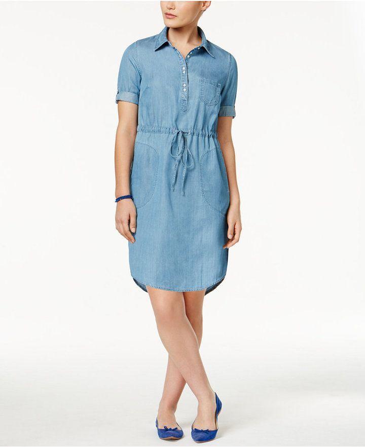 petite-chambray-shirt-dress