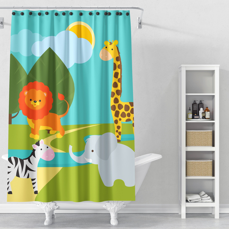 Animals Fabric Shower Curtain Kids Shower Curtain Kids Bathroom Bathroom Decor Kids Bathr Kids Shower Curtain Fabric Shower Curtains Childrens Bathroom