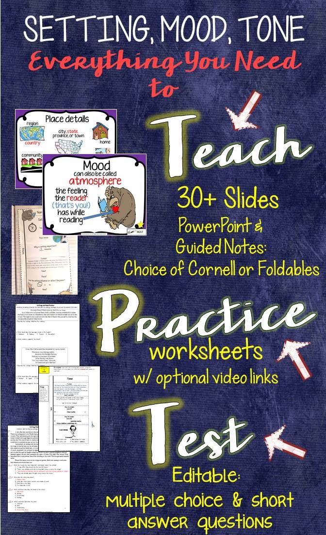 Setting, mood, tone: teach, practice, test | Student, Middle and ...