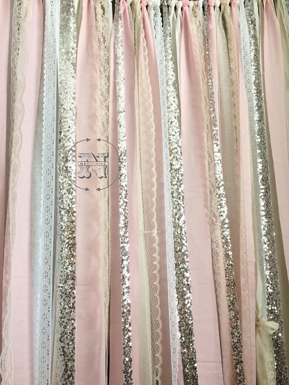 "60/"" Pink Rose Fabric Garland Ribbon Nursery photoprop backdrop Curtain Light"