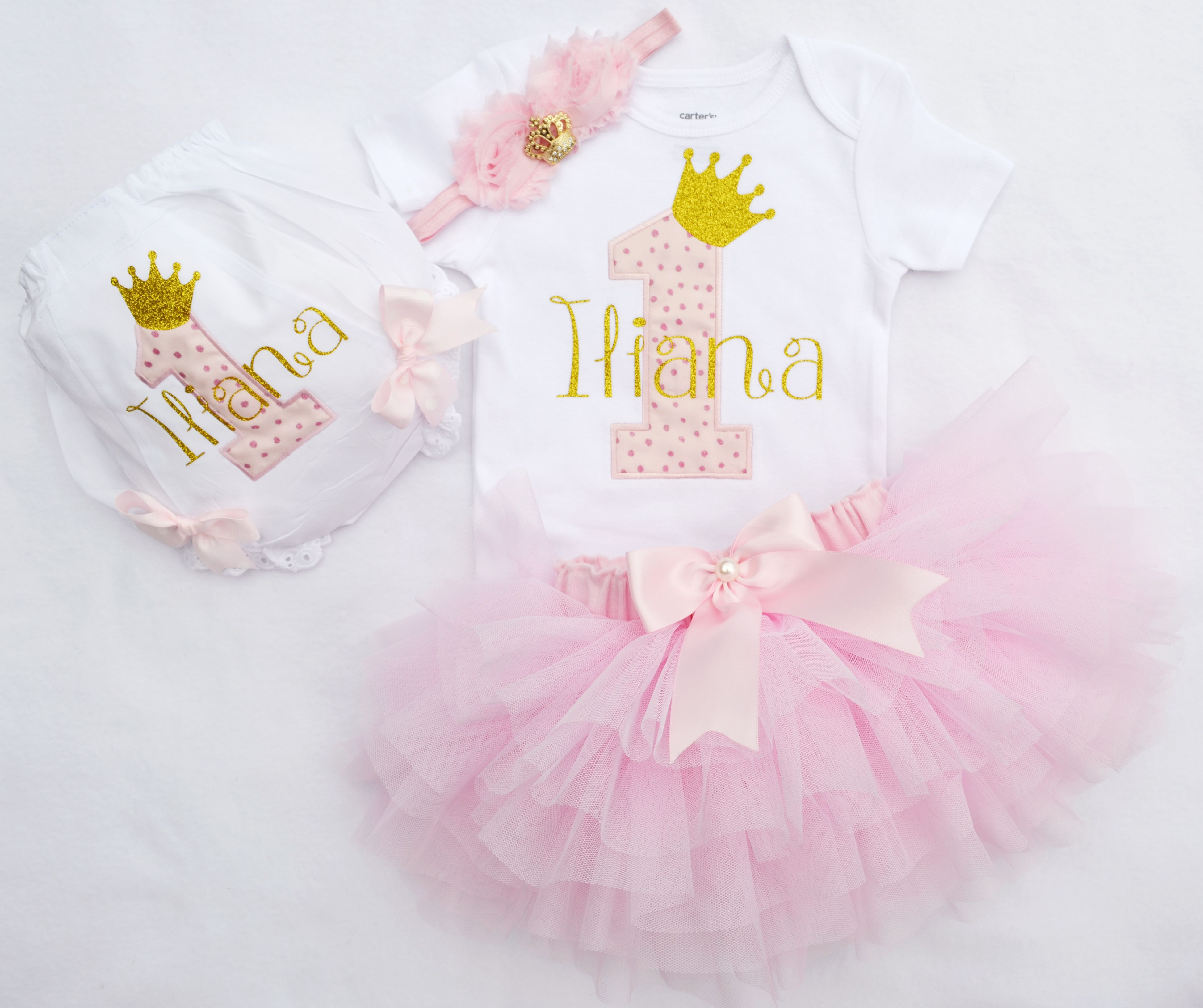 4pc. Girl Pink gold first birthday outfit Birthday Outfit,Birthday tutu,1st Birthday Outfit,Girls Birthday set,Gold Birthday Outfit