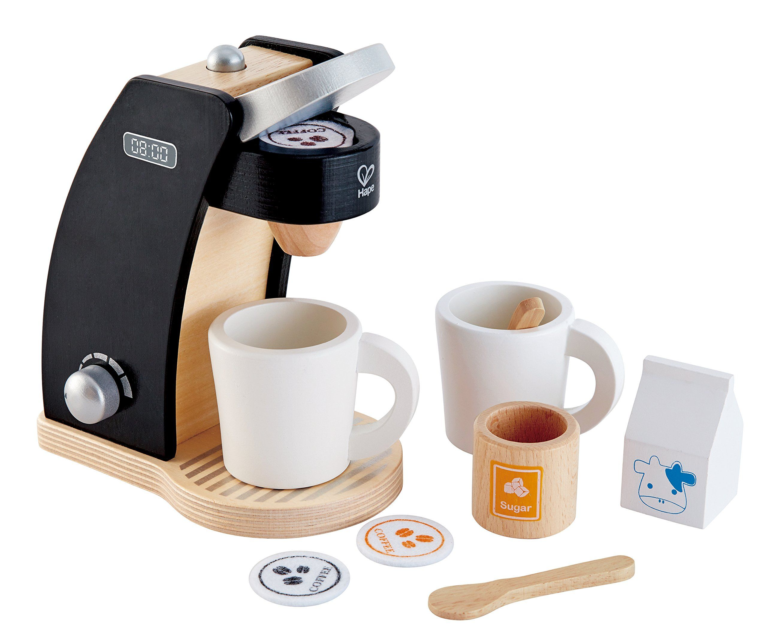 Hape Coffee Time for Two Wooden Coffee Maker Play Kitchen Set | Toy ...