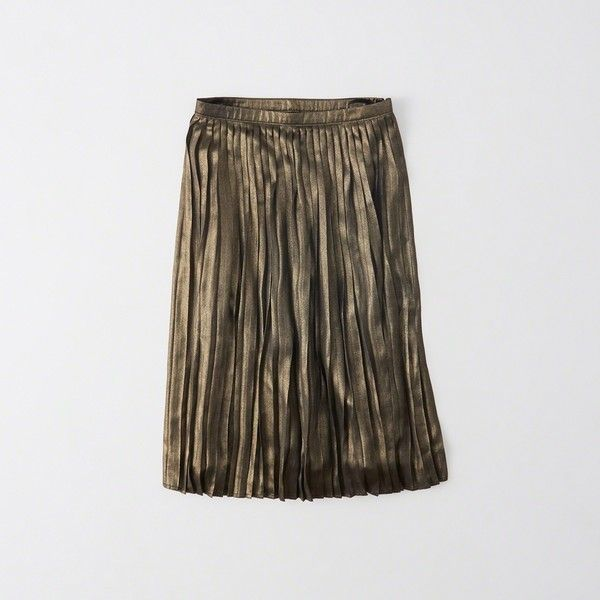 Abercrombie & Fitch Pleated Metallic Midi Skirt ($58) ❤ liked on Polyvore featuring skirts, metalic gold, abercrombie fitch skirt, midi skirt, metallic skirt, shiny skirt and pleated skirt