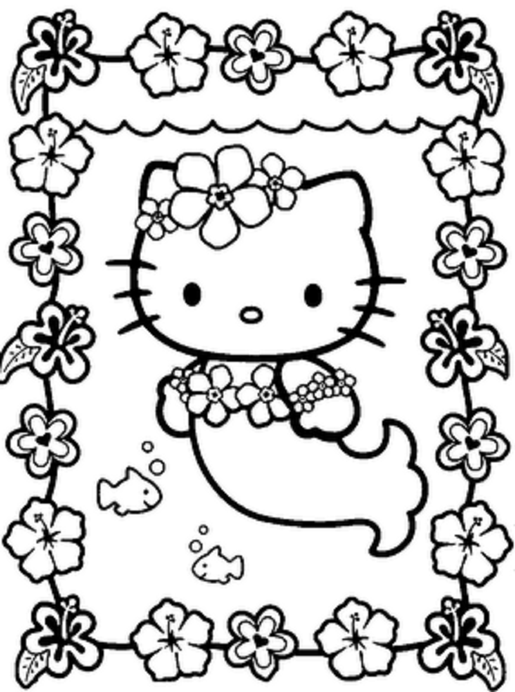 hello kitty mermaid coloring page Hello Kitty Mermaid Birthday
